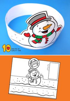 [original_tittle] – 10 Minutes of Quality Time – Crafts for Kids [pin_tittle] Snowman Printable Crown Halloween Crafts For Toddlers, Christmas Crafts For Kids, Christmas Activities, Winter Activities, Christmas Printables, Winter Christmas, Holiday Crafts, Activities For Kids, Snowman Printables