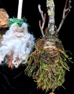 Green man and Holly king altar besoms by positivelypagan.com