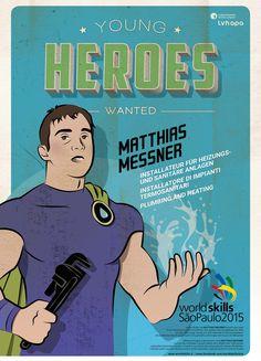 Für die Berufsweltmeisterschaft in SAO PAOLO - BRASILIEN entstand die illustrierte Kampagne YOUNG HEROES WANTED. Mehr unter: www.rotwild.it/blog Web Design, Comic Books, Hero, Memes, Blog, Italia, Advertising Agency, Brazil, Design Web