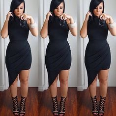 Our must have asymmetrical dress as seen on @amrezy is back! Dress available at HotMiamiStyles.com - search: D13568