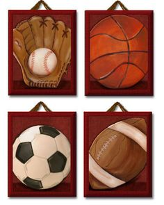 Allstar sports balls Red Set of 4 Giclee Canvas nursery art for kids room. $70.00, via Etsy.