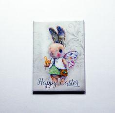 Easter Bunny Magnet, Easter Magnet, Kitchen magnet, ACEO, Fridge magnet, Easter gift, Bunny, Rabbit, easter card, easter bunny (7137) by KellysMagnets on Etsy