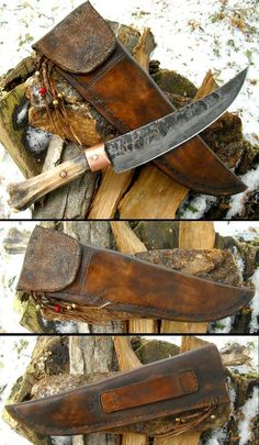 Quality hand made deer leg bone handle knife, brass bolster, leather sheath. Cool Knives, Knives And Tools, Knives And Swords, Leather Working, Metal Working, La Forge, Knife Sheath, Handmade Knives, Cold Steel