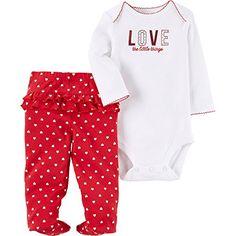 32a533d91 Child of Mine by Carters Baby Girls Valentines Day Bodysuit and Pants Set  Newborn White Love