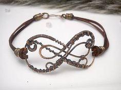 Náramok Tiež osem, diy wire wrapped copper bracelet leather patina copper