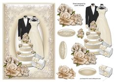 Cream Wedding With Roses Card Front on Craftsuprint designed by Judith Mary Howells - A large card front sized to fit an A5 card with decoupage pieces and optional greeting plates for ON YOUR WEDDING DAY, FOR THE BRIDE
