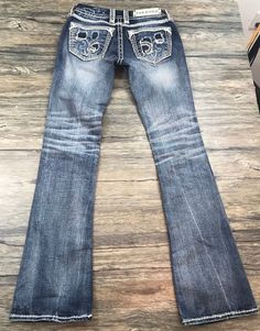 Rock Revival Stacey Boot Cut Jeans Embellished Womens Sz 26*  | eBay