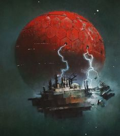 John Harris is an artist who has created artwork for covers of sci-fi books by the likes of Orson Scott Card and Arthur C. Titan Books brings together his art in this hardcover book. Dark Fantasy Art, Sci Fi Fantasy, Sci Fi Spaceships, 70s Sci Fi Art, Spaceship Art, Futuristic Art, Sky Art, Science Fiction Art, Environment Concept Art