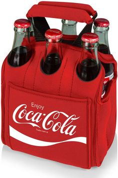 Picnic Time Six Pack - Red (Coca-Cola) Silkscreen When planning to enjoy beverages away from home, the Six Pack is the perfect way to carry them to your destination. The Six Pack is an insulated bever Coca Cola Cooler, Coca Cola Drink, Coca Cola Bottles, Beer Cooler, Pepsi, Soda Bottles, Coca Cola Decor, Always Coca Cola, World Of Coca Cola