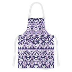 Kess InHouse Pom Graphic Design 'Tribal Simplicity II' Purple White Artistic Apron
