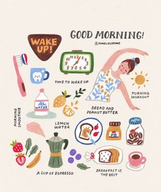 latest photo Health lifestyle illustration style recipe, Morning routines & :] What time do you wake up? Do you have any activities that you do every morning? I always start my day with a BIG .