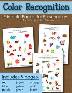 9-page set of Preschool Color Recognition Packet Worksheets