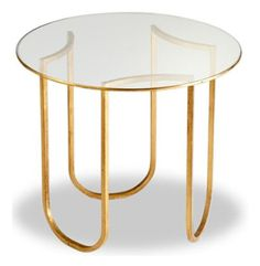 Kathy Kuo Home Vincent Gold Leaf Round Glass Contemporary Side Table Round Accent Table, Round Coffee Table, Accent Tables, Glass Furniture, Dark Furniture, Regency Furniture, Contemporary End Tables, Modern Table, Glass End Tables
