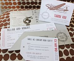 Silver, Red & Beige Vintage 1930s Airplane, Globe & Compass Boarding Pass Wedding Invitations