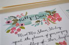 Custom Banner and Floral Wedding Invitation Summer Wedding Invitations, Custom Wedding Invitations, Floral Wedding Invitations, Invitation Cards, Invitation Ideas, Invites, Vintage Wedding Stationery, Orange Wedding, Custom Banners