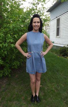 Vintage 60s Mini Dress Mod Chambray Blue Sleeveless by soulrust