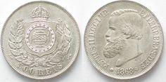 1868 Brasilien BRAZIL 500 Reis 1868 PEDRO II silver UNC/about UNC!!! # 96332 UNC/UNC-