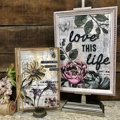 Love this Life Framed Panel by Richele Christensen. Tim Holtz collage paper
