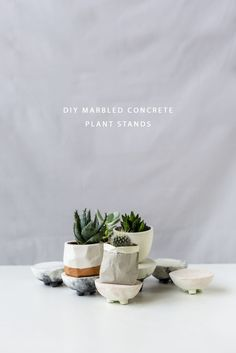 DIY Marbled Concrete Planter Stands for all your Succulents | Fall For DIY