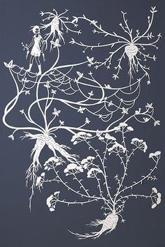 Tangled Vines  Hand-cut paper on mat board