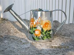 Hand Painted Miniature Watering Can by ingeborgsorgent on Etsy, $27.80