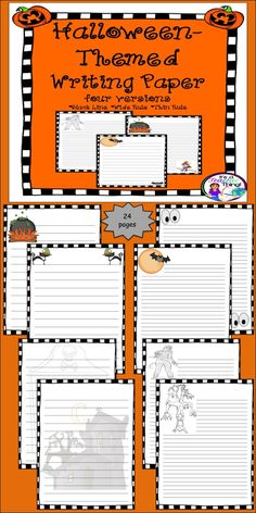 The Halloween-Themed Writing Paper comes in three printable versions:  black line, wide ruled, and thin ruled.  The 24-pages come with a variety of graphics that can span grades 2-12 and can be used for any Halloween or October writing project or prompt.