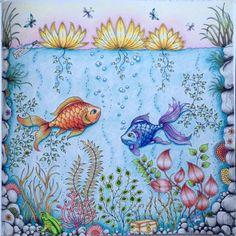 "Johanna Basford ""Secret Garden"" - fish in pond  | Colouring Gallery"