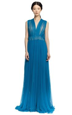 Delpozo: Sleeveless Ruched Gown
