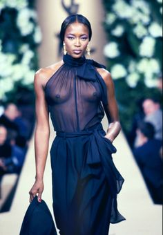 1999 - YSL Couture Show - Naomi Campbell Repinned by www.fashion.net