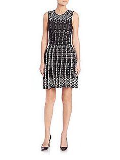RVN Textured Velour Jacquard Dress - White - Black - Size