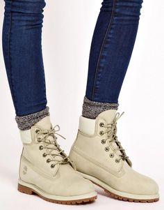 Timberland | Timberland 6 Premium Winter White Lace Up Flat Boot at ASOS