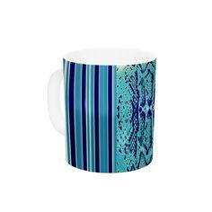 "Nina May ""Aqua Snake"" Blue Teal Ceramic Coffee Mug"