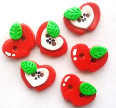Button Little Red Apples handmade polymer clay buttons  6