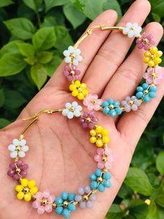 Diy Necklace, Diy Earrings, Necklace Designs, Bead Jewellery, Beaded Jewelry, Beaded Rings, Beaded Bracelets, Handmade Wire Jewelry, Bijoux Diy