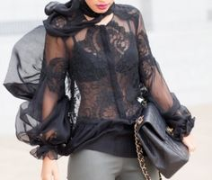sexy black lace blouse for fall street style