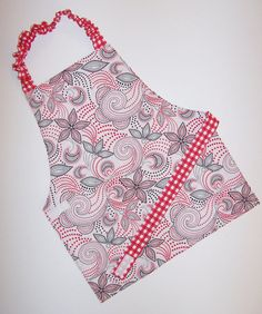 Reversible Montessori apron red white black gingham paisley dots big kid apron baker BBQ tailgating apron art smock