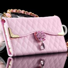 "Pochette clutch portefeuille et coque case pour iphone6 6s 4.7"" strass girly"