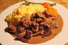 Rindergeschnetzeltes mit Rosmarin-Balsamico-Sahnesauce