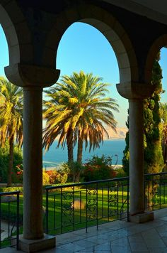 Looking out over the Galilee/Kinneret from the Mount of Beatitudes