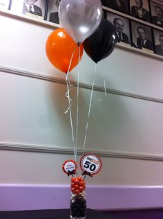 Better view of The Big 50 Harley Davidson Centerpieces with balloons Motorcycle Birthday Parties, Biker Birthday, Motorcycle Party, 40th Birthday Parties, Dad Birthday, Birthday Ideas, Harley Davison, Biker Party, Harley Davidson Birthday