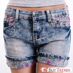 Street Women's Fashion Denim Short Pant in Lace - BuyTrends.com