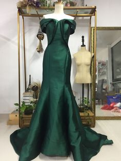 Aliexpress.com : Buy Evening Gown Off the Shoulder Dark Dreen Satin Mermaid Prom Dress Formal Occasion from Reliable gown cocktail dress suppliers on Gama Wedding Dress