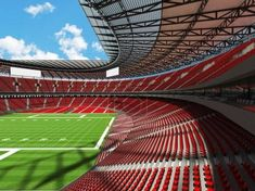Beautiful modern american football stadium with red seats for hundred thousand fans - TouCanvas