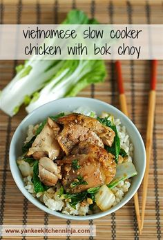 Easy Vietnamese slow cooker chicken with bok choy | yankeekitchenninja.com