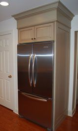 kitchen cabinets refrigerator surround custom built in refrigerator nook created for new counter 6353
