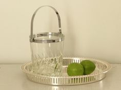 Vintage French Crystal Ice Bucket Barware on a silver tray with limes Vintage Bar Carts, Wine Bucket, Silver Trays, Chrome Handles, Limes, Buckets, French Vintage, Barware, I Shop