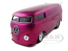 Volkswagen Drag Bus Diecast Car Model 1/18 Purple Die Cast Car By Hotwheels Classics