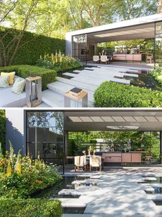 The stone steps from a sunken patio/lounge area transform into wide rectangular stepping stones that are surrounded by water, and lead to a pavilion with a dining area and kitchen. #Landscaping #LandscapeDesign #ModernGarden #GardenPavilion