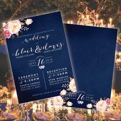Marineblau und Blumen Hochzeit Einladung Blumen DIY von khenri