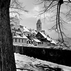 Hans Mauli - Aarau, Switzerland (not sure what year. White Editorial, Swiss Design, Most Beautiful Cities, Black And White Pictures, Black And White Photography, Switzerland, Netherlands, Exotic, Journey